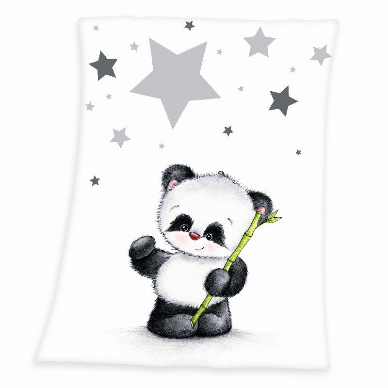HERDING Micropolar fleece deka Panda  Polyester, 75/100 cm