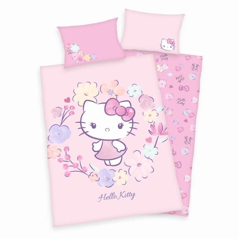 HERDING Obliečky do postieľky Hello Kitty květy Bio Bavlna  Bio Bavlna, 100/135, 40/60 cm