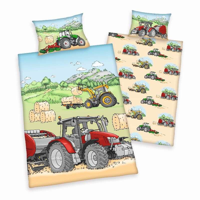 HERDING FLANEL BIO Obliečky do postieľky Traktor  Bio Bavlna Flanel, 100/135, 40/60  cm