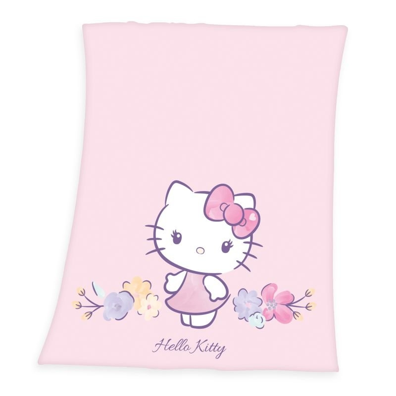 HERDING Fleece deka Hello Kitty kvety  Polyester, 130/160 cm