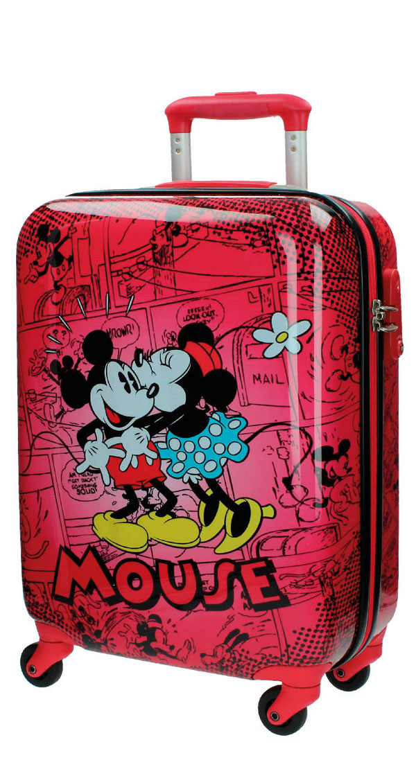 Cestovný kufor ABS Mickey a Minnie Retro Red 55 cm