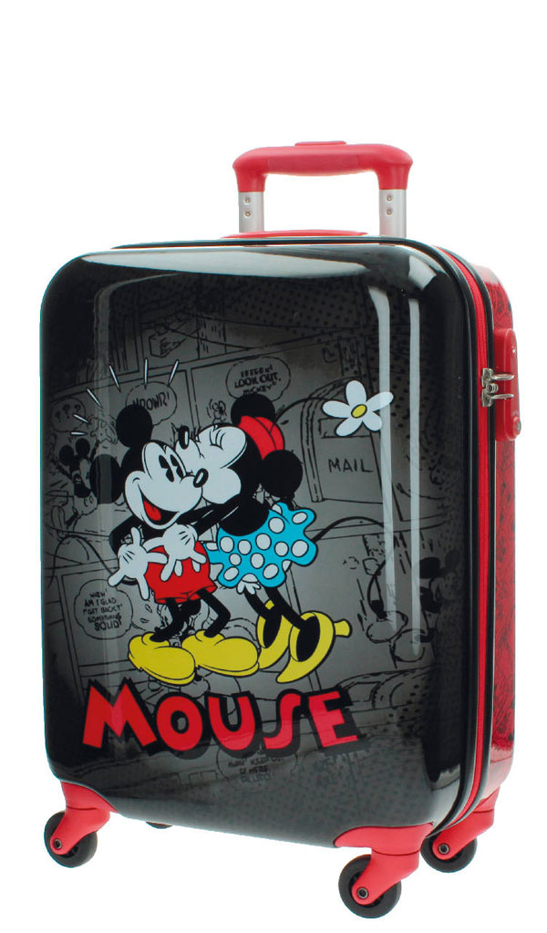 Cestovný kufor ABS Mickey a Minnie Retro Black 55 cm