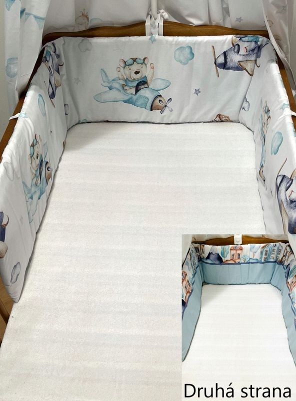 SDS Mantinel do postieľky Letadýlka modrá  Bavlna, výplň: Polyester, 195/28 cm