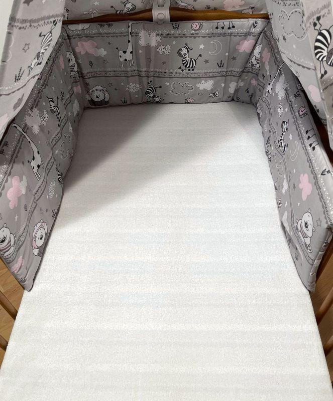 SDS Mantinel do postieľky Zvieratká ružová  Bavlna, výplň: Polyester, 195/28 cm