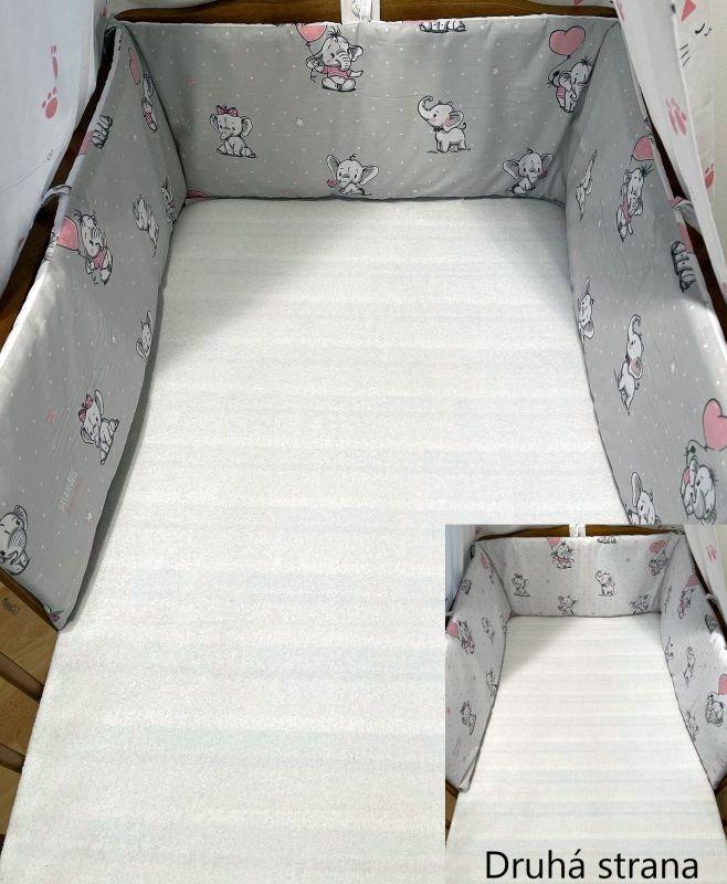 SDS Mantinel do postieľky Sloníci sivá/Sloníci biela  Bavlna, výplň: Polyester, 195/28 cm