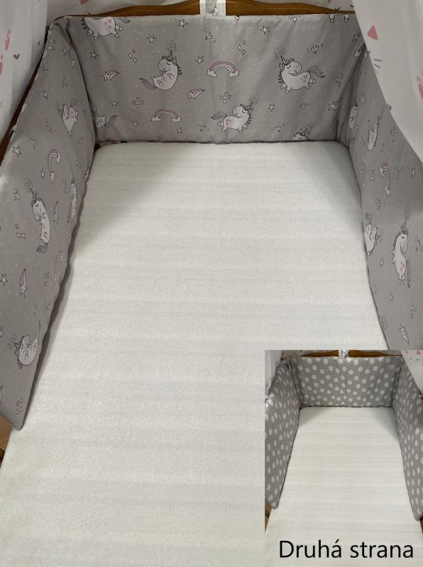 SDS Mantinel do postieľky Jednorožec sivá / Bodky sivá  Bavlna, výplň: Polyester, 195/28 cm