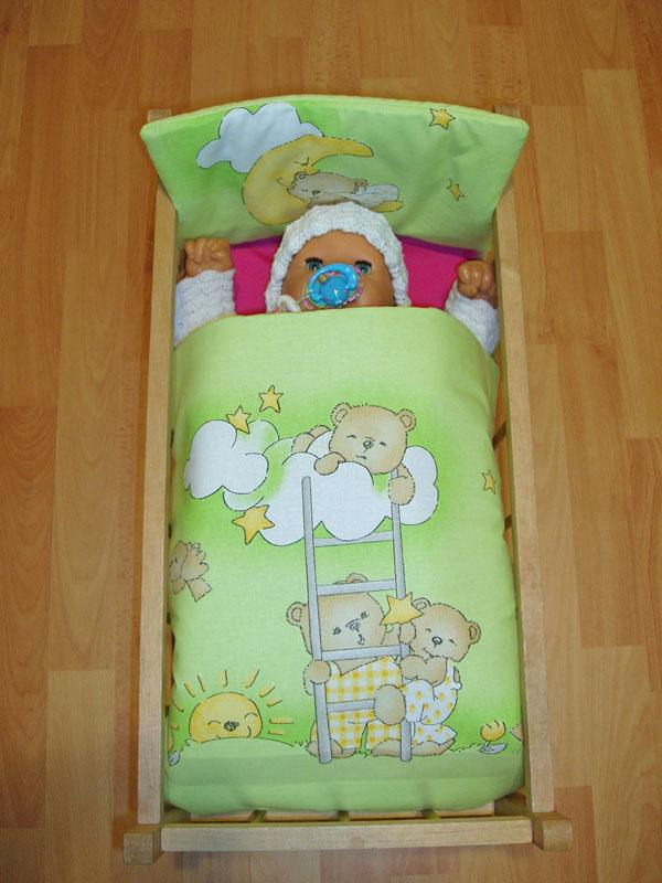 Perinky do postieľky pre bábiky Medvedíky na rebríku zelená