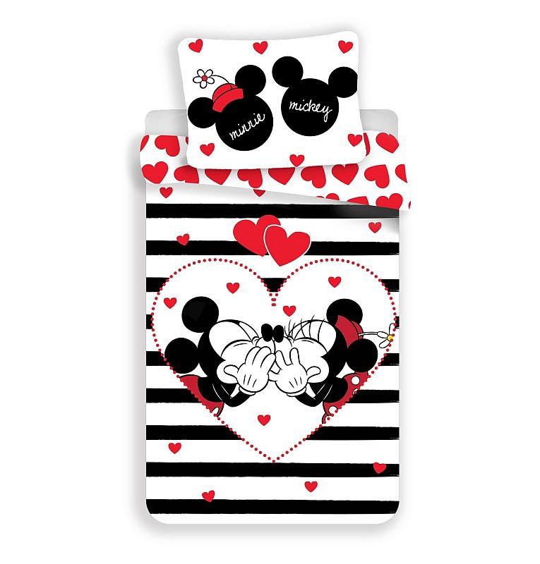 JERRY FABRICS Obliečky Mickey a Minnie stripes  Bavlna, 140/200, 70/90 cm