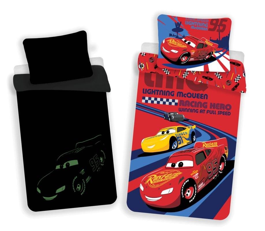 JERRY FABRICS Obliečky Cars red 02 svítící Bavlna, 140/200, 70/90 cm