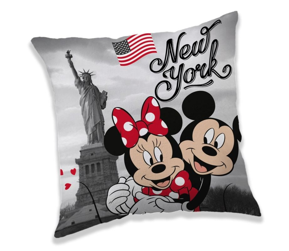 JERRY FABRICS Vankúšik Mickey a Minnie New York  Polyester, 40/40 cm