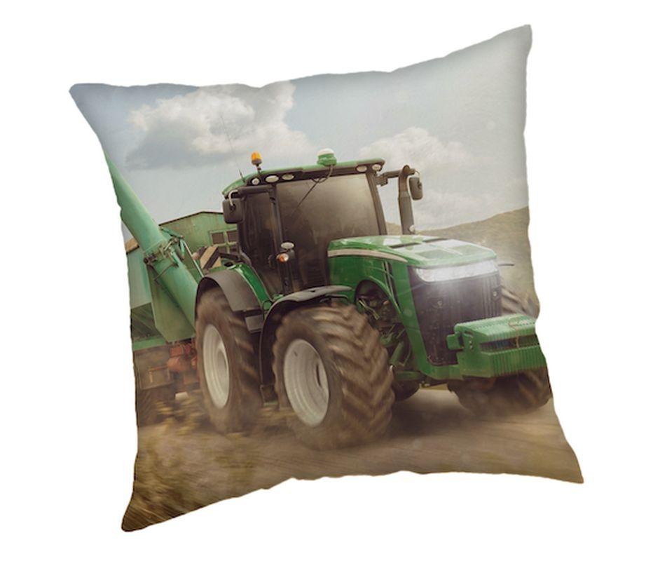 JERRY FABRICS Vankúšik Traktor green  Polyester, 40/40 cm