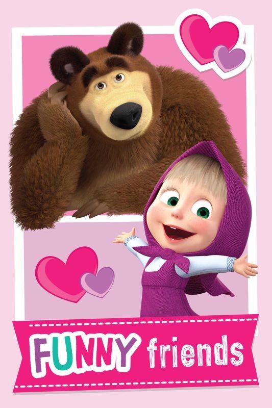 Fleece deka Máša a Medveď Friends 100/150