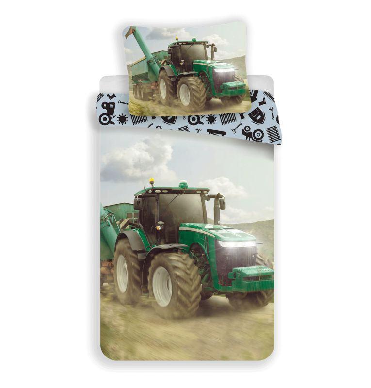JERRY FABRICS Obliečky Traktor green  Bavlna, 140/200, 70/90 cm