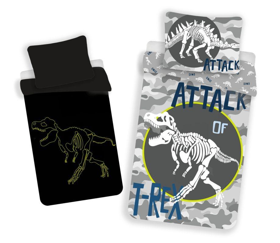JERRY FABRICS Obliečky T-rex svietiace  Bavlna, 140/200, 70/90 cm