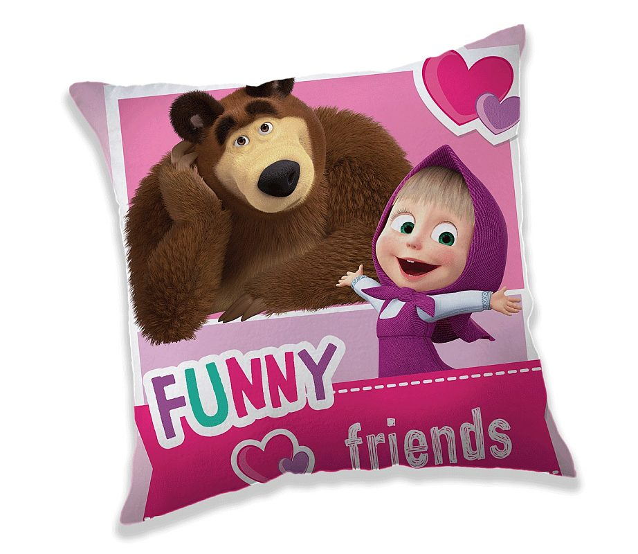 JERRY FABRICS Obliečka na vankúšik Máša a Medveď Friends micro  Polyester, 40/40 cm