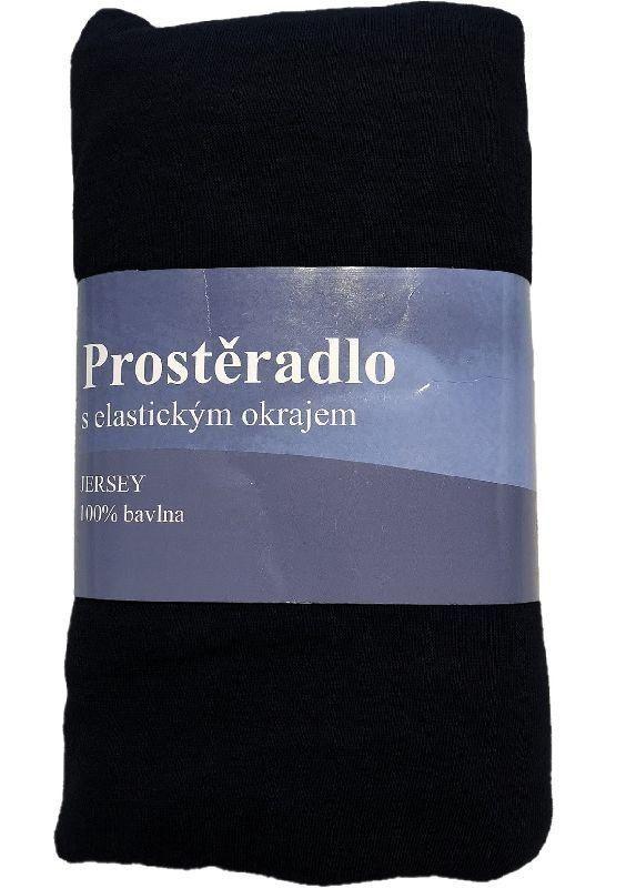 JERRY FABRICS Prostěradlo Jersey Čierna  Bavlna, 180/200 cm