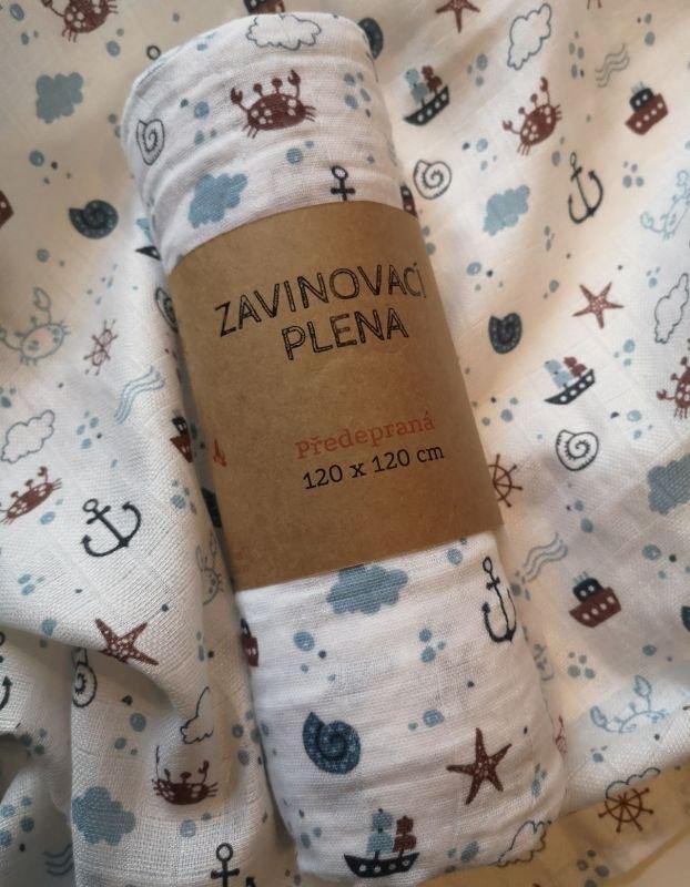 PREM Zavinovacia predpraná plienka s potlačou Oceán  Bavlna - předepraná, 120/120 cm