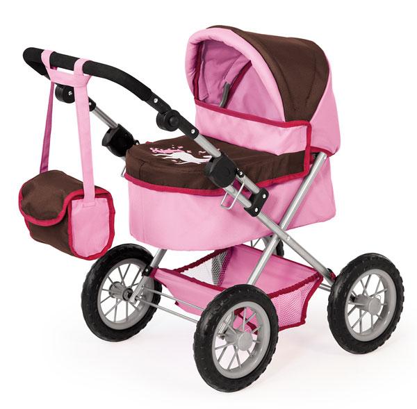 Kočík pre bábiky Bayer Trendy ružovo-hnedý