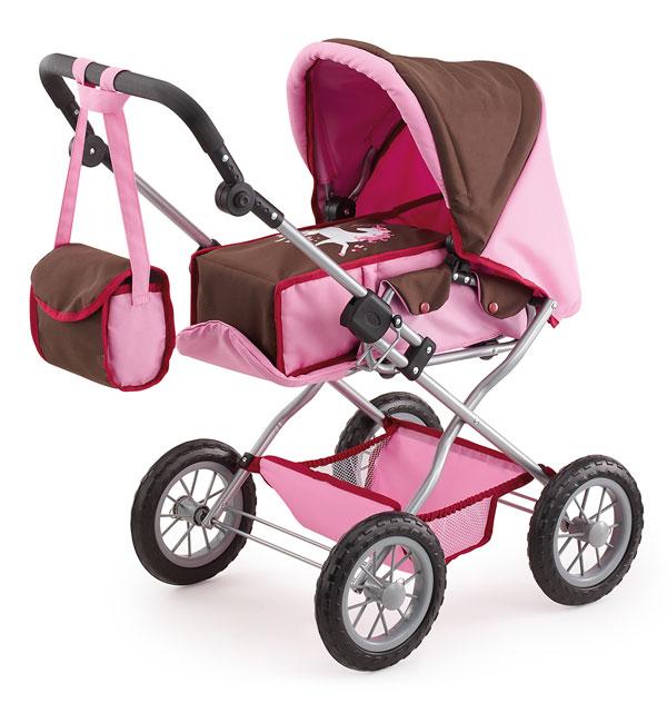 Kočík pre bábiky Bayer Kombi Grande ružovo-hnedý