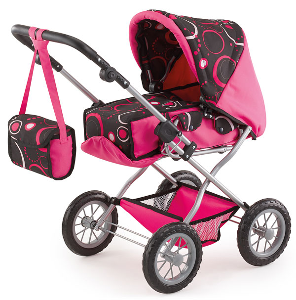 Kočík pre bábiky Bayer Kombi Grande ružovo-čierný