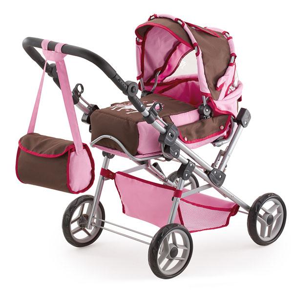 Kočík pre bábiky Bayer Trendsetter ružovo-hnedý