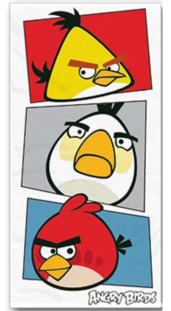 Plážová osuška, detský uterák Angry BirdsOsuška Angry Birds bielá 70/140