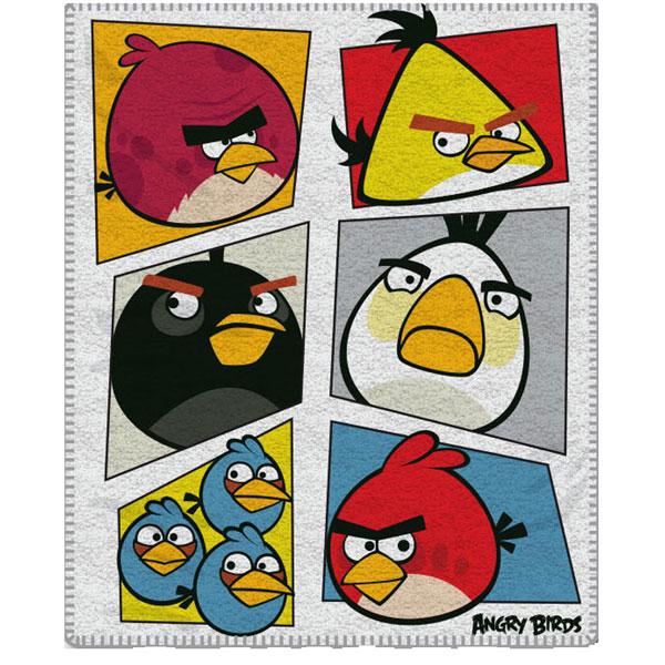 Fleece deka Angry Birds bielá 120/150
