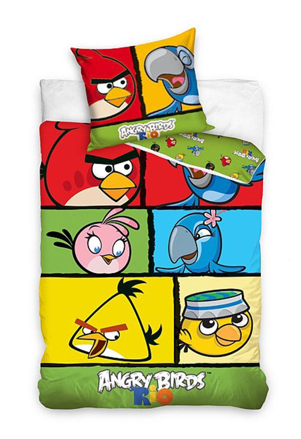 posteľné obliečky, detské návliečky Angry BirdsObliečky Angry Birds Rio kocky 140/200