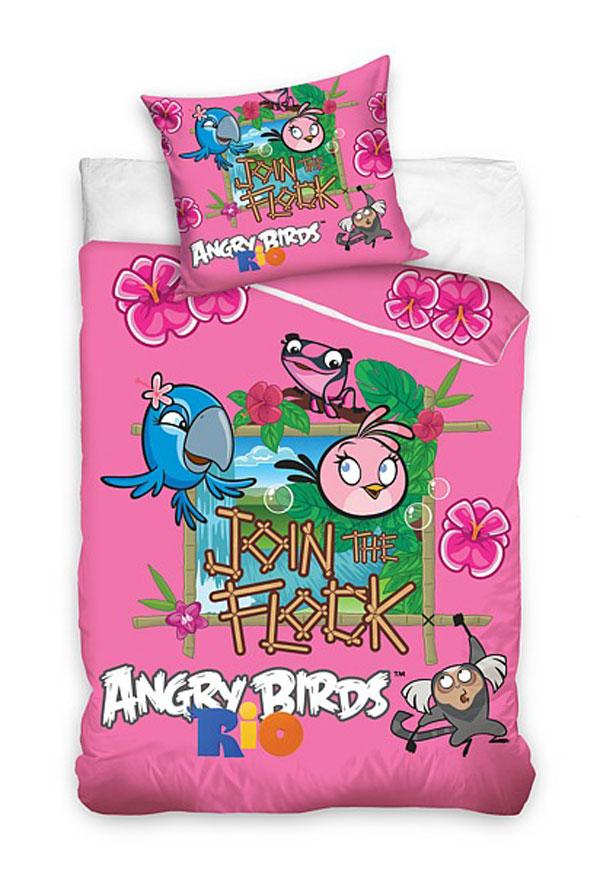 Obliečky Angry Birds Rio ružová 140/200