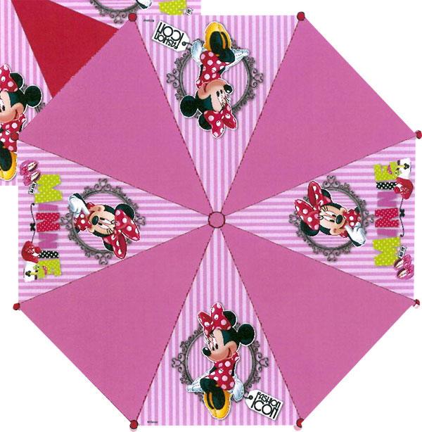 Vystreľovací dáždnik Minnie prúžky ružová