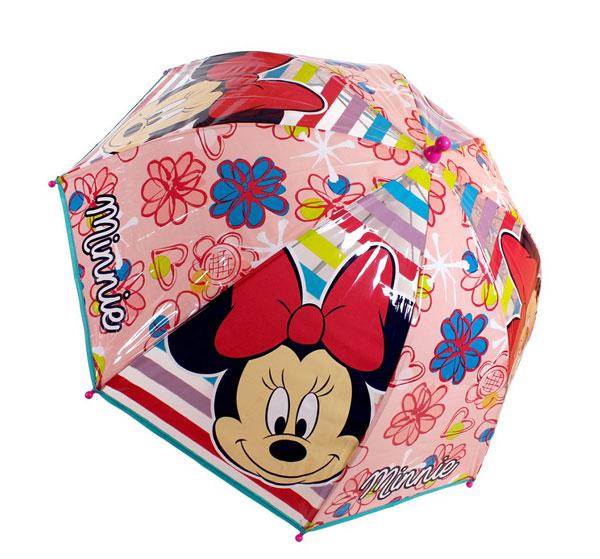 Priehľadný dáždnik Minnie ružová