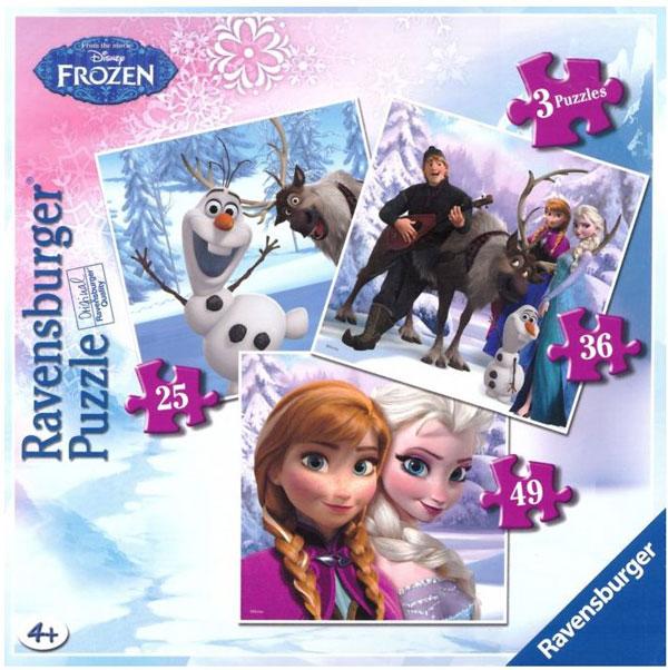 Puzzle Ľadové Kráľovstvo 3v1 RAV