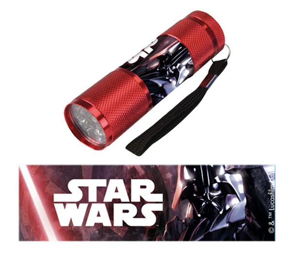Detská hliníková LED baterka Staw Wars červená