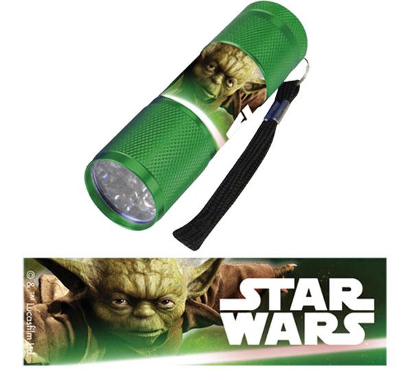 Detská hliníková LED baterka Staw Wars zelená