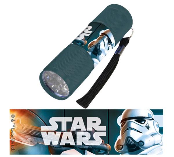 Detská hliníková LED baterka Staw Wars sivá