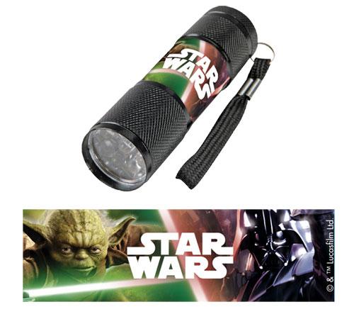 Detská hliníková LED baterka Staw Wars čierná