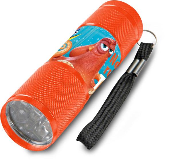 Detská hliníková LED baterka Hľadá sa Dory oranžová