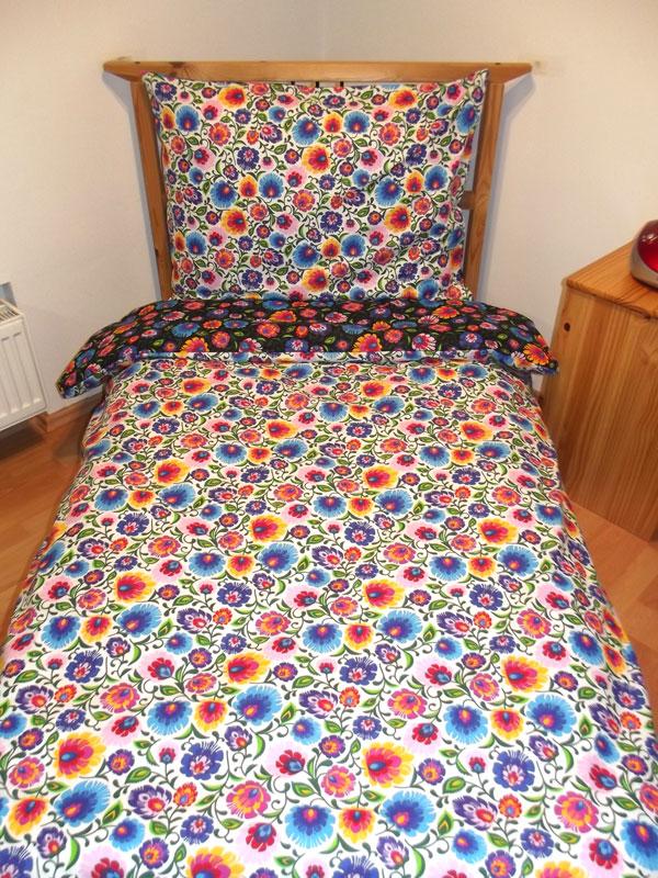 Obliečky Kvety čierne a biele 140/200 cm
