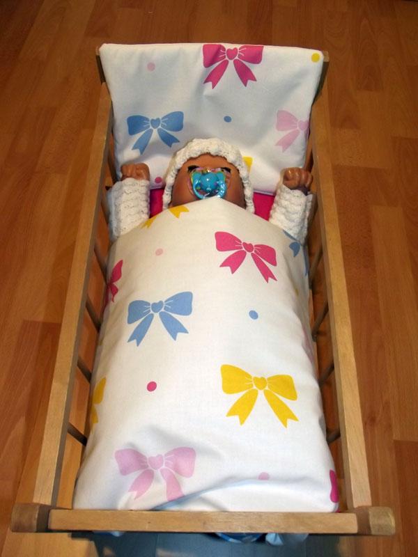 Perinky do postieľky pre bábiky Mašličky biela