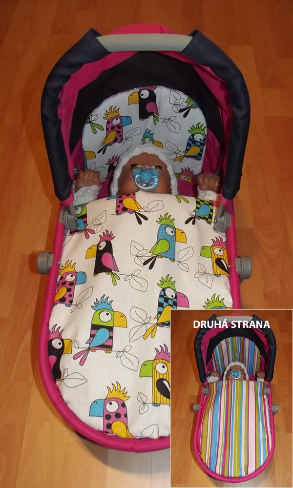 Perinky do kočíka pre bábiky Papagáje/prúžky farebné