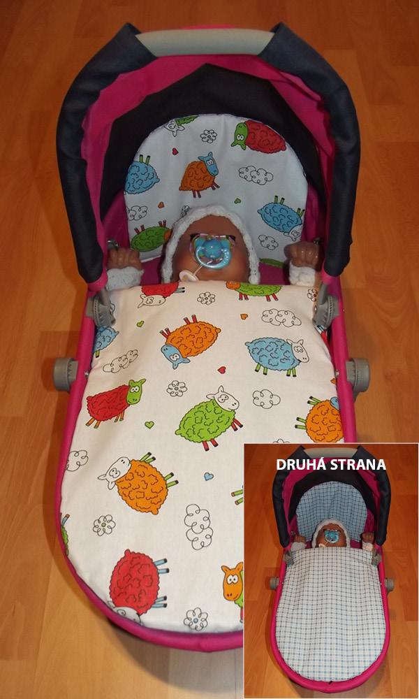 Perinky do kočíka pre bábiky farebné Ovečky/ kocka modrá