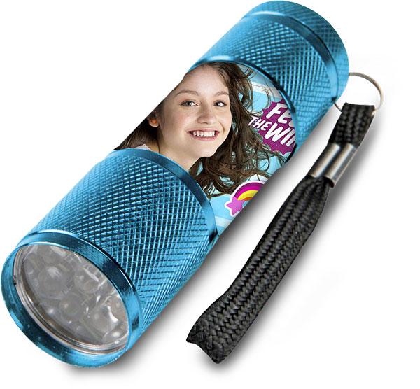 Detská hliníková LED baterka Soy Luna azúrová