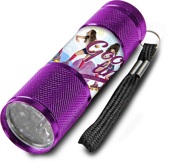 Detská hliníková LED baterka Soy Luna lila