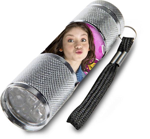Detská hliníková LED baterka Soy Luna strieborná